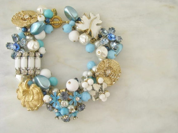Charm Something Blue Charm Turquoise Floral Flower Bracelet OOAK