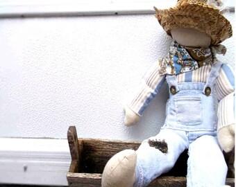 Boy Doll, Overalls, Patched, Straw Hat , Fisherman, Farmer, Huck Finn?