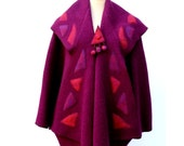 Individual and artistic purple red pink boucle woolen lapelcoat coat poncho