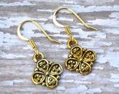 Gold Four Leaf Clovers . Earrings