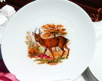 Set Of Four Vintage French Limoges Porcelain Dinner Plates - Hunting Decor - Deer Pattern - Wildlife Image - Table Decor