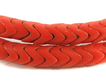 Interlocking Snake Bohemian Trade Beads Coral Colored African 110060 SALE WAS 28