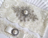 Bridal rhinestone crystal applique heirloom garter set. Cream/ Ivory stretch lace Ivory Pearl wedding garter. BEATRICE
