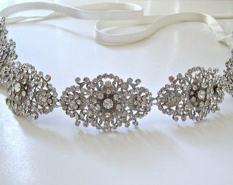 Bridal swarovski crystal antique silver jewel wedding sash. Rhinestone medallion wedding belt.  GLAMOROUS VINTAGE