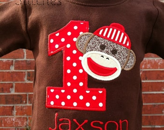 Sock Monkey Birthday Shirt  -  BROWN Shirt -  PERSONALIZED