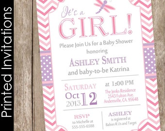 Printed Dragonfly baby shower invitation, pink and purple baby shower invitation, chevron invitation, typography invitation (FREE ENVELOPES)
