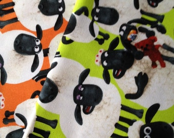 Shaun the sheep printed fabric small set 2 of 19.6 inches x 11.8 inches fabrics Wallace and Grommet