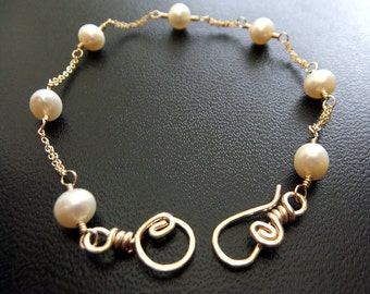 White Ivory Freshwater Pearl Bracelet Bridal 14K Goldfilled Double Chain Classic Simple Elegance
