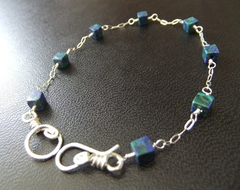 Rainforest Agate Blue and Green Cubes on Sterling Silver Cable Chain Bracelet Blue Beads Simple Colorful Fun Lightweight Bracelet Hook Clasp