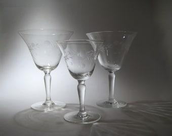 Trio of Antique Etched Glasses