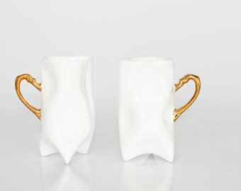 Ceramic white and gold handbuilt cups. Porcelain mugs for coffee or tea.