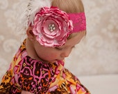 HOT Pink silk headband flower pearls feathers pink stretch for  newborn-toddler-child-girl