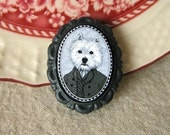 west highland terrier -  victorian/edwardian style brooch - boy dog
