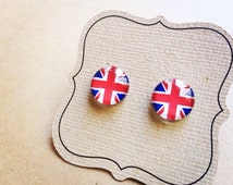 Union Jack Earrings, UK, Great Britain, England, London, glass earrings on titanium posts