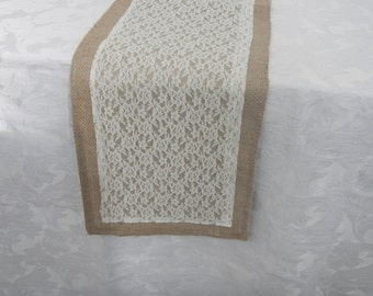 Burlap and Lace Table Runner, Wedding, Party, Shower, Home decor, Shabby and Chic, Country Wedding