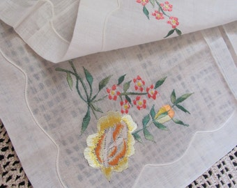 Hankie Lovely Sheer White Floral Embroidered Hankie
