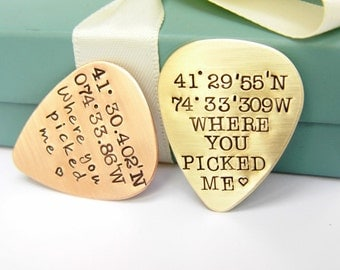 Personalized Guitar Pick - Latitude Longitude Gift - GPS Coordinate Gift - Anniversary Gift - Music Lovers Gift - Personalized Gift -