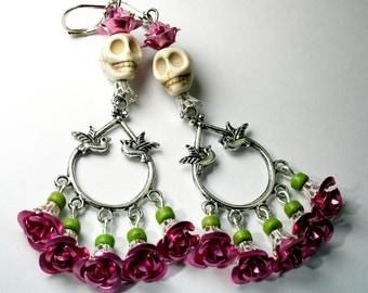 Skull earrings, Frida earrings, Sugar Skull, Pink Roses,  Day of the Dead Jewelry