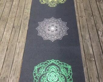 Double sided Mandala Yoga Mat - Electric - Lotus Sworls - Hand drawn sacred geometry