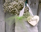 Flower Girl Basket with bow tulle and wood heart personalized  small burlap white bag woodland wedding