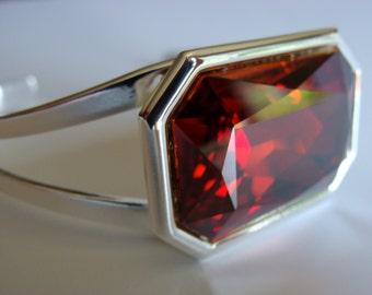 Red Magma Swarovski Crystal Large Stone Cuff Bracelet