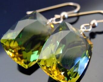 14K Solid Yellow Gold Yellow Green Ametrine Large Stone Earrings