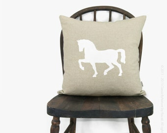 16x16 horse pillow, cushion cover - Rustic shabby chic home decor - Equestrian decorative throw pillow case in natural beige & white