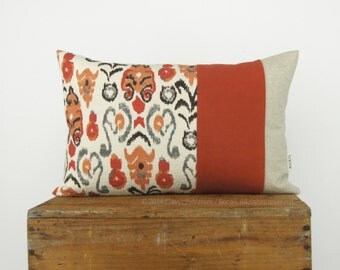 12x18 Ikat Decorative Pillow Case | Eco Friendly Aztec Color Block Design | Burnt Orange, Grey, Black and Beige Striped Cushion Cover