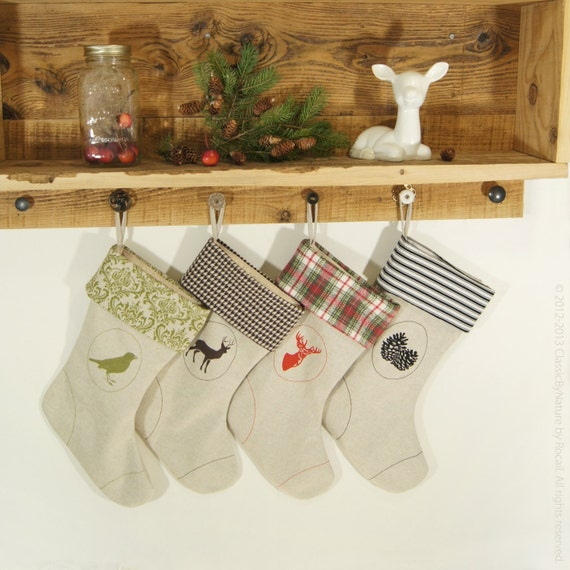 Bird Christmas Stocking Winter Home Decor Woodland