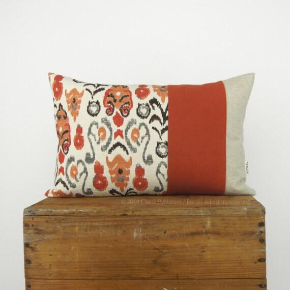 Decorative Pillow Cover 12x18 : 12x18 16x16 and 18x18 terracotta Ikat Decorative Pillow Case