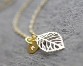 Leaf Initial Necklace, Gold Initial Necklace, Gold Leaf Monogram Necklace, Anniversary Gift, Gold Bridesmaids Initial Necklace, Mom Gift