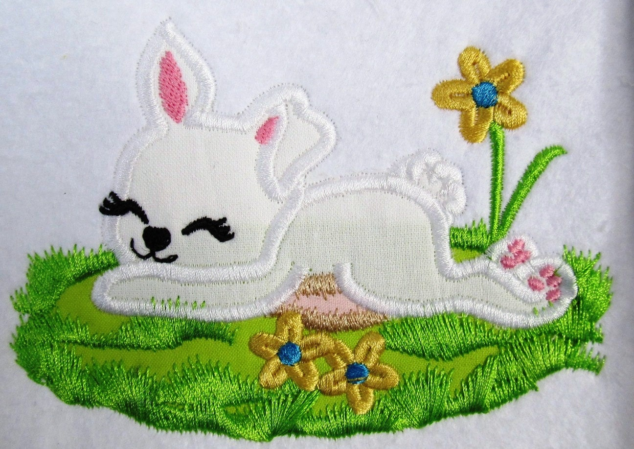 Easter bunny machine embroidery fill stitch and applique