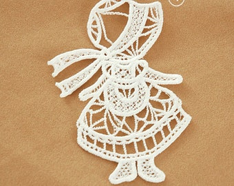 Big Venice Lace Appliques Lovely Girl Milk White Embroidery Patches 2pcs
