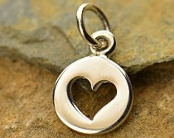 Sterling Silver Disk with Heart Cutout Charms  - 1pc (5909) 10% discounted Heart Charm Pendant