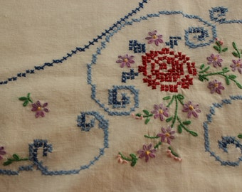 Tablecloth, Flowers, Embroidered, Cross Stitch, Home Décor, Vintage