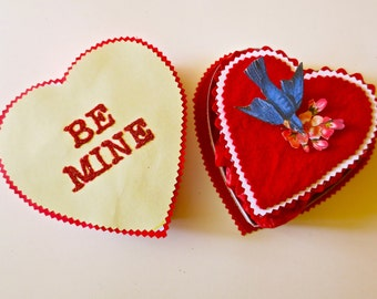 """Heart with sparrow Card in Heart candy box """"Be Mine"""""""