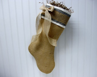Burlap Stocking with blue accents and bow