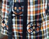 Halloween Apron - Orange Plaid Mad Scientist Symbols