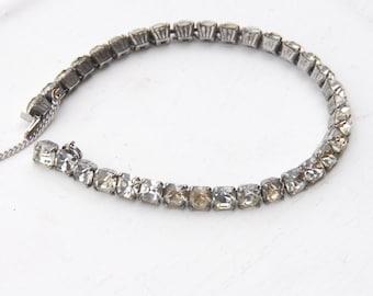 Rhinestone Bracelet, Vintage Bracelet, Rhinestone Jewelry, Great for Vintage Style Weddings, Tennis Bracelet, Vintage Jewelry