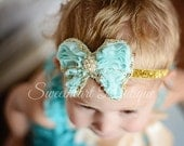 Aqua Butterfly Headband, Aqua Baby Headband, Glitter Headband, baby Girl Headband, Newborn Headband -