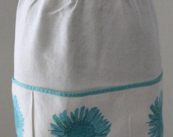 Natuarl Linen Apron with Flower Print