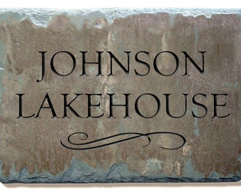 CARVED SLATE House Marker Name Sign / Plaque / Lake /Cabin / Cottage Stone /  Wedding Gift #E-3s