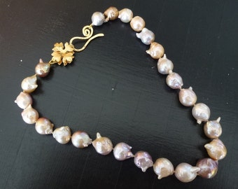 STOCK SALE~20% Discount ***Coupon CHRISTMASALE112***Baroque Pearls Necklace, Cultured Pearls, Multi-shades pearls, Organic pearls