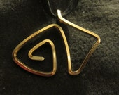 Abstract wire wrapped gold pendant necklace