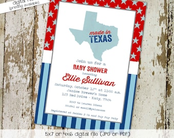 baby boy shower invitation made in texas patriotic birthday stars and stripes baby sprinkle little man (item 1227) shabby chic invitations
