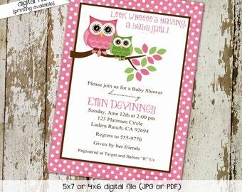 owl baby shower invitation owl first birthday baby girl shower polka dots baby sprinkle baptism diaper (item 1316) shabby chic invitations
