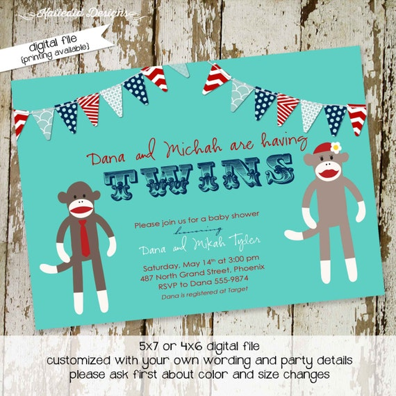 little boy 1st birthday sock monkey co-ed baby shower invitation bunting banner invite twins shower brother sister gay 159 katiedid designs