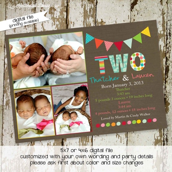 twin birth announcement baby shower sprinkle baptism birthday christening baby blessing diaper couples (item 407) shabby chic invitations