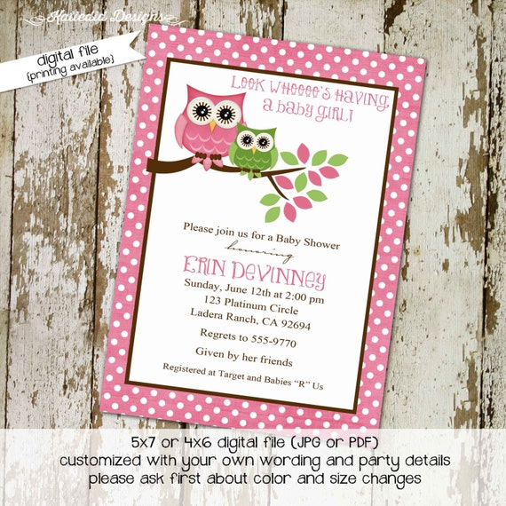 owl baby shower invitation floral chic invite surprise gender reveal diaper wipe brunch co-ed baby shower two moms 1316 katiedid designs