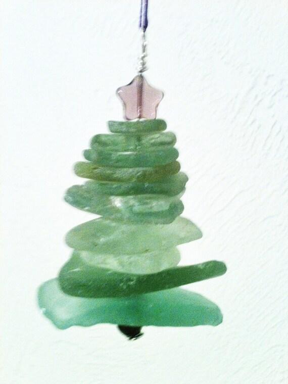 Scottish Sea Glass Christmas Tree Ornament In Greens Unique